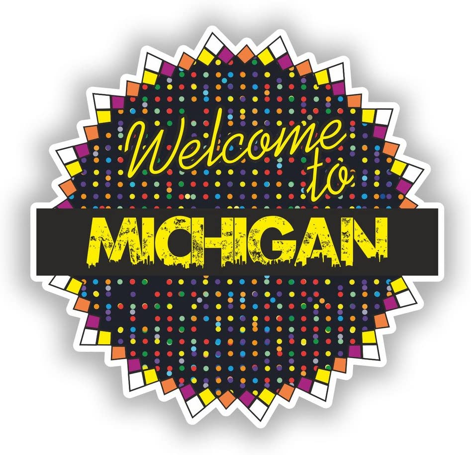 2 x Welcome To Michigan Vinyl Stickers Travel Luggage #7718