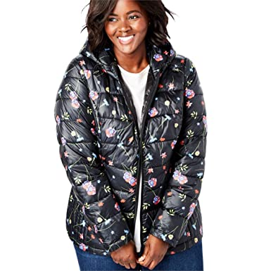 32ef6d00899 Amazon.com  Woman Within Plus Size Packable Puffer Jacket  Clothing