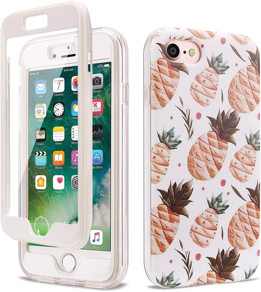 GOLINK Full Body Shockproof Protective Case with Built-in Screen Protector for 4.7 inch iPhone 7 and iPhone 8(Pineapple)