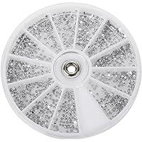 SODIAL(R) Carrousel Argente Strass boites Cristal Ongle Manucure Nail Art Glitter 1.5MM wheel