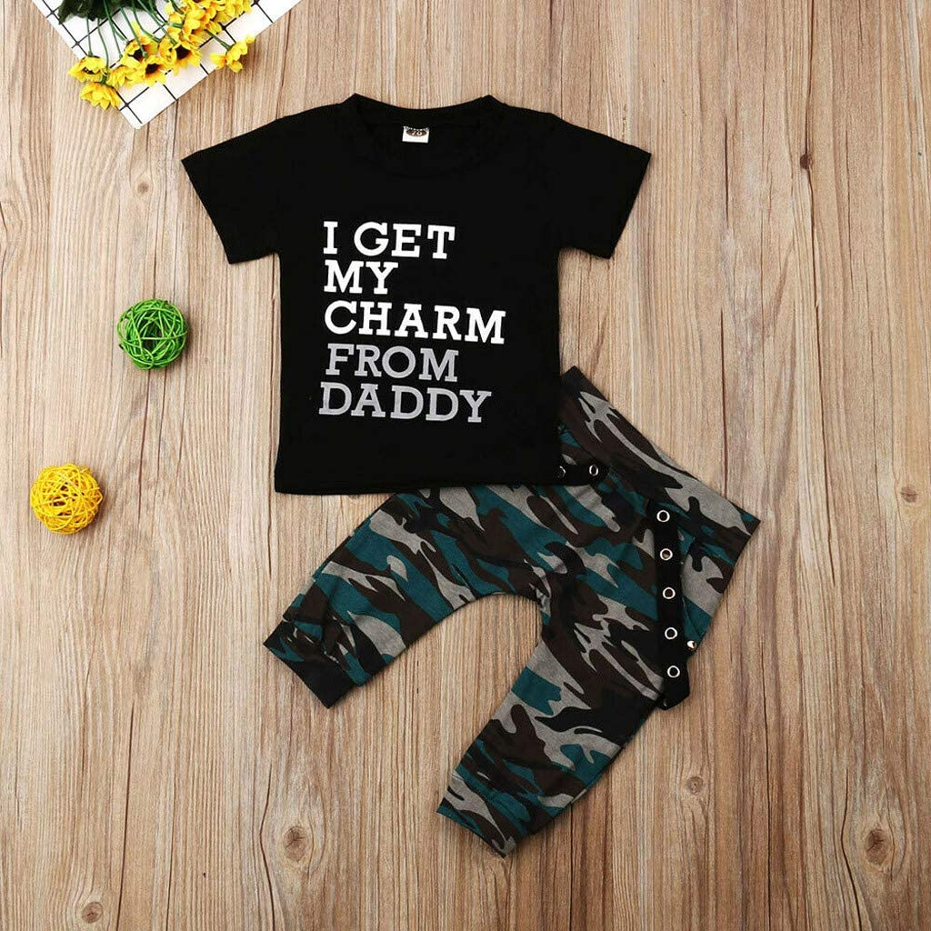 i-Auto Time 2Pc Baby Boys Clothes King Crown T-Shirt Tops+Camouflage Pants Outfit Set