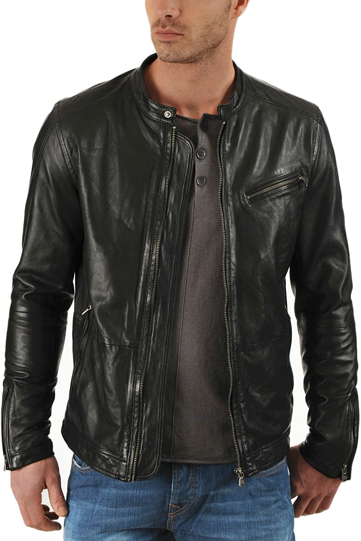 New Mens Genuine Lambskin Leather Slim Fit Biker Motorcycle Jacket for Men P078