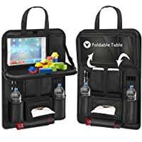 Backseat Car Organizer, Car Organizer for Kids Toy Bottles Storage Foldable Dining Table Clear Tablet Holder Family Road Trip Accessories