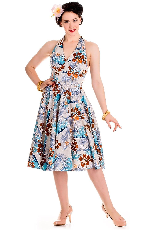 Hell Bunny - 50er Tiki Damen Kleid Tropisches Blumenmuster Sommerkleid