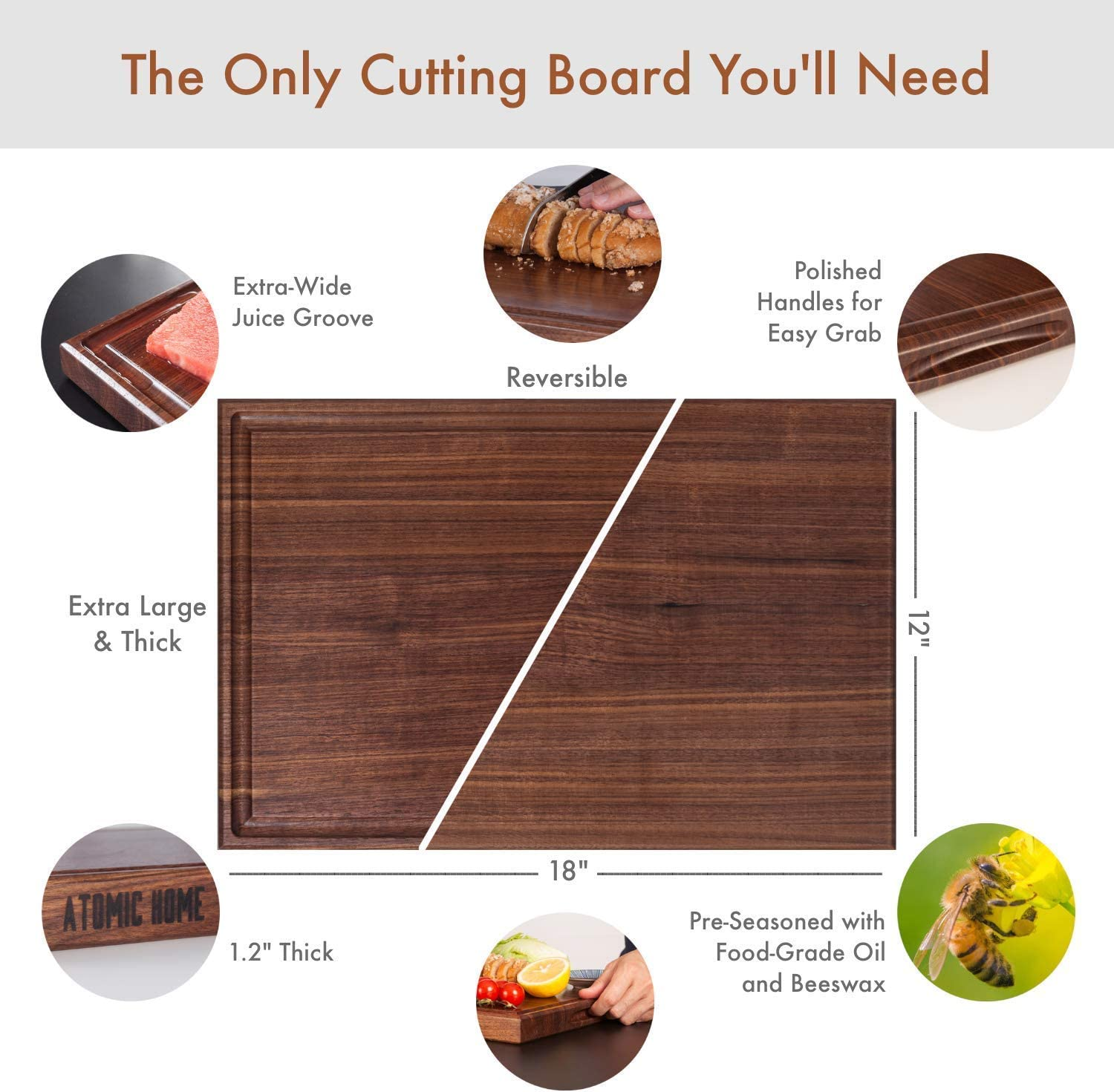 Wood Cutting Board Large Maple 18x12 Inch Reversible with Handles and Juice Groove Thick Butcher Block Chopping Board Carving Cheese Charcuterie Serving Handmade by AtoHom