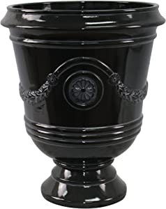 "Southern Patio 15"" Diameter Porter Urn Planter, Black"