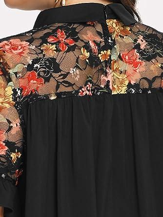 ROMWE damska sukienka z koronką w kształcie kwiatÓw, z falbanką, na lato, na plażę: Odzież