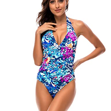 51f9359ee1 DAYU Women s Sexy Monokini Swimsuit High Cut One Piece Bikini Floral Printed