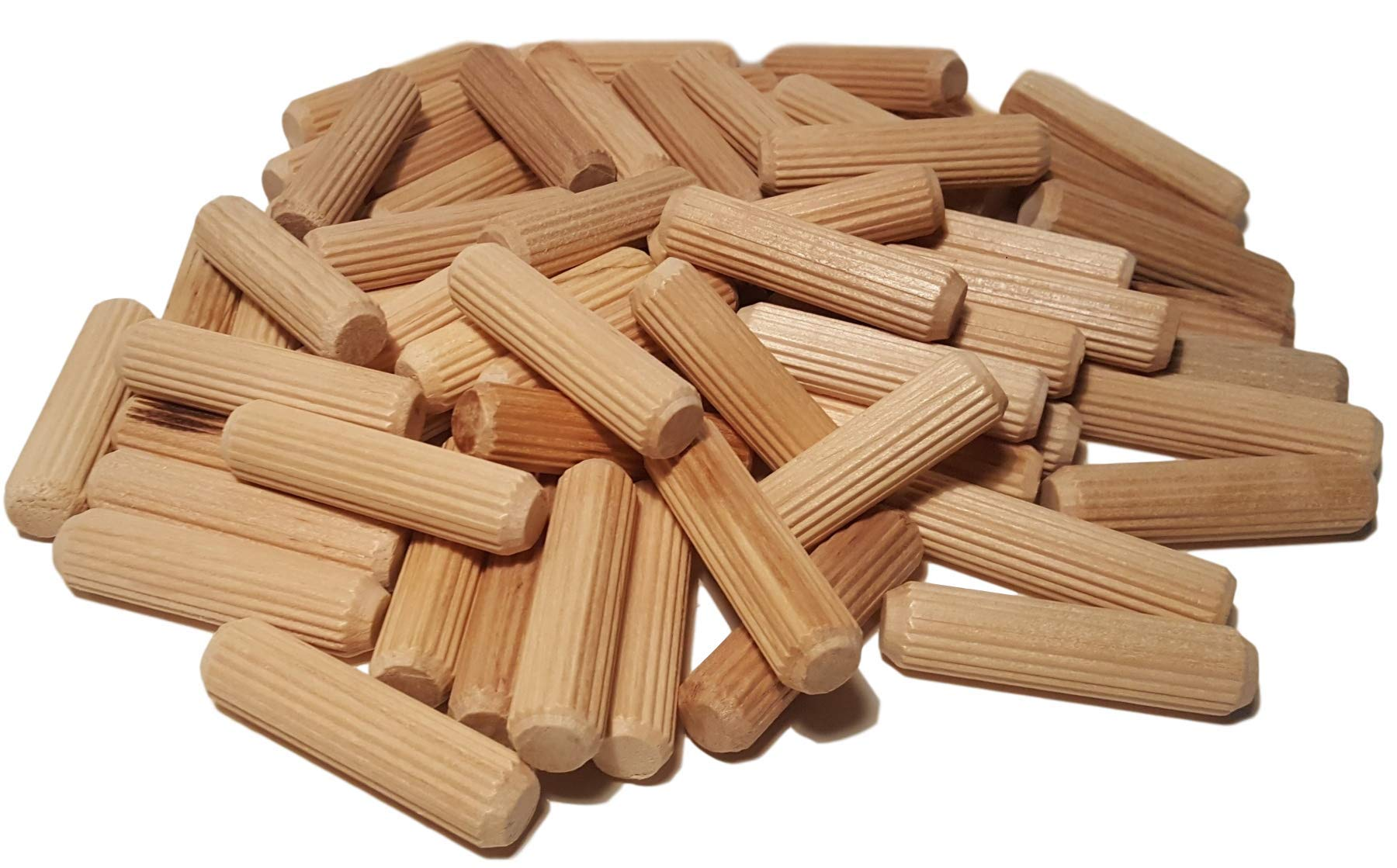 100 Pack 1/2'' x 2'' Wooden Dowel Pins Wood Kiln Dried Fluted and Beveled, Made of Hardwood in U.S.A.
