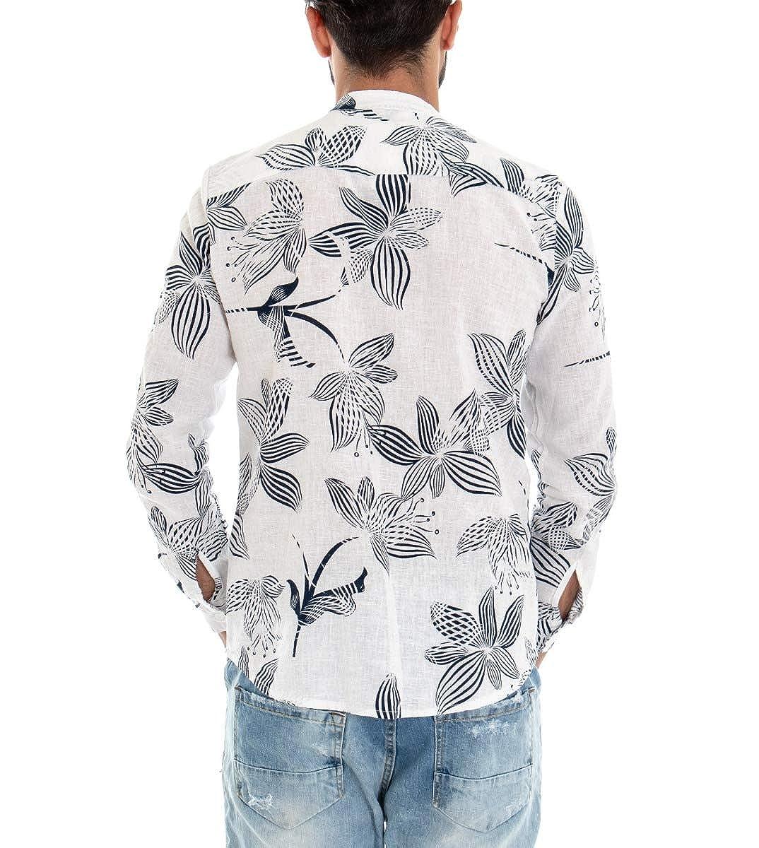 Camicia Uomo Maniche Lunghe Collo Coreano Fantasia Floreale Fiori Lino Casual GIOSAL
