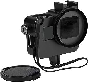 D&F Aluminum Frame Housing Case Skeleton Shell Cover with Protective UV Filter for GoPro Hero 7 Black, Hero 6, Hero 5 Black