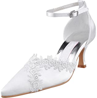 Kevin Fashion MZ1225 Ladies Buckle White Satin Bridal Wedding Formal Party Evening Prom Pumps Shoes 10 UK mcFO1LS