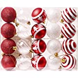 """Valery Madelyn 20Pcs 2.4""""/6cm Dear Santa Red and White Christmas Baubles Ornaments, Shatterproof Christmas Tree Balls Pendants Decorations"""