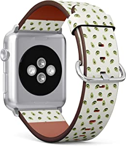 Compatible with Apple Watch Series 5, 4, 3, 2, 1 (Small Version 38/40 mm) Leather Wristband Bracelet Replacement Accessory Band + Adapters - Avocado Fabric