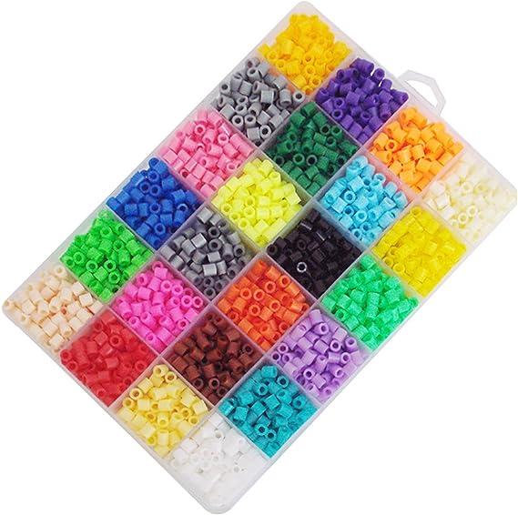 2400pcs 24 Colores Mini Fuse Beads Kit de Abalorios Craft con Clip de Papel de Hierro Llavero Broche de Langosta Tableros de Clavijas para niños Adultos DIY Handcraft: Amazon.es: Juguetes y juegos