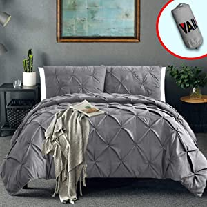 Vailge 3 Piece Pinch Pleated Duvet Cover with Zipper Closure, 100% 120gsm Microfiber Pintuck Duvet Cover, Luxurious & Hypoallergenic Pintuck Decorative(Grey,Queen)