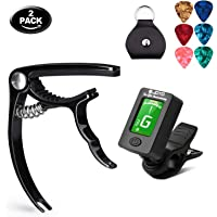Olice Guitar Tuner and Guitar Capo Set, Clip-On Tuner Digital Electronic Tuner Acoustic with LCD Display for Guitar, Bass, Violin, Ukulele, Banjo