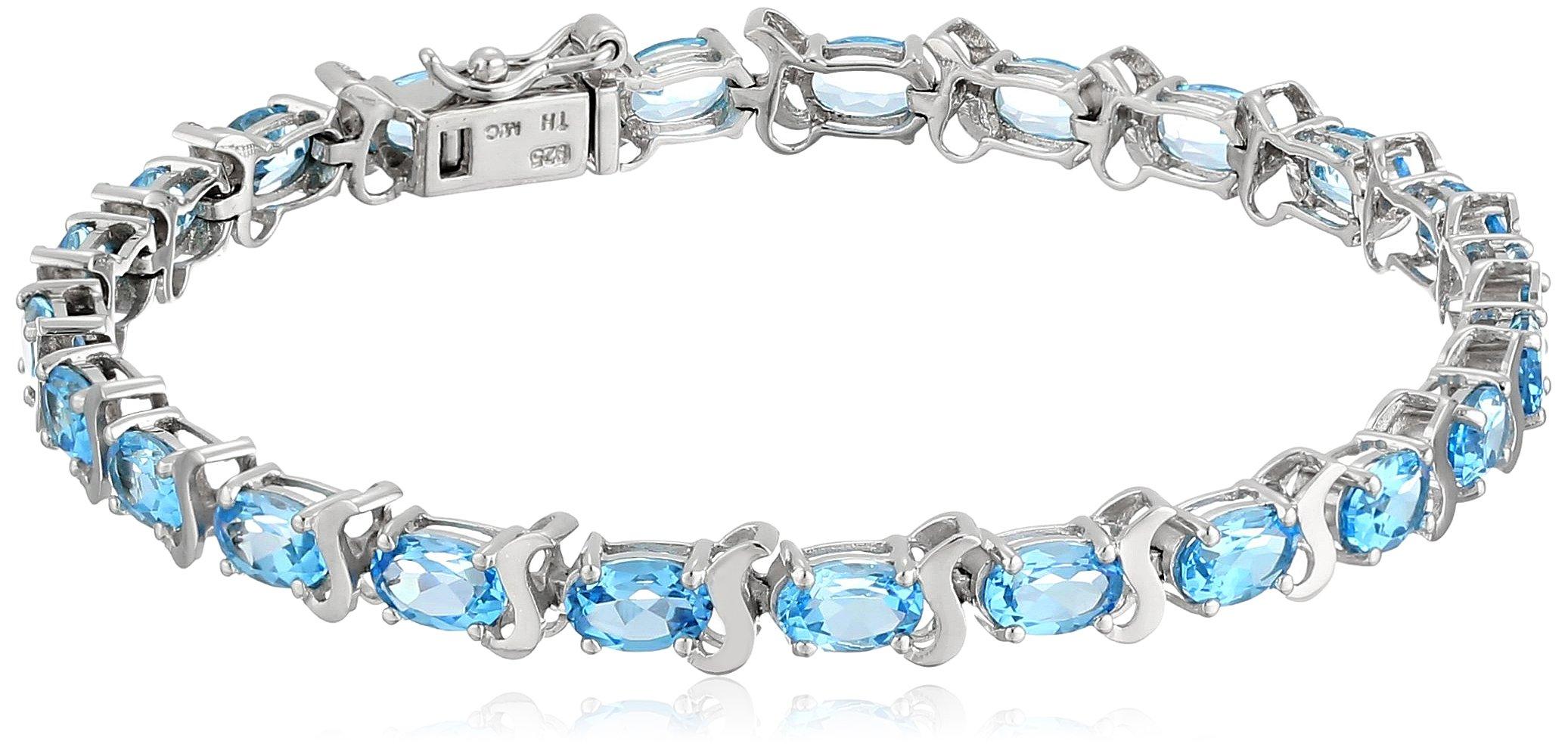 Swiss Blue Topaz Tennis Bracelet in Sterling Silver