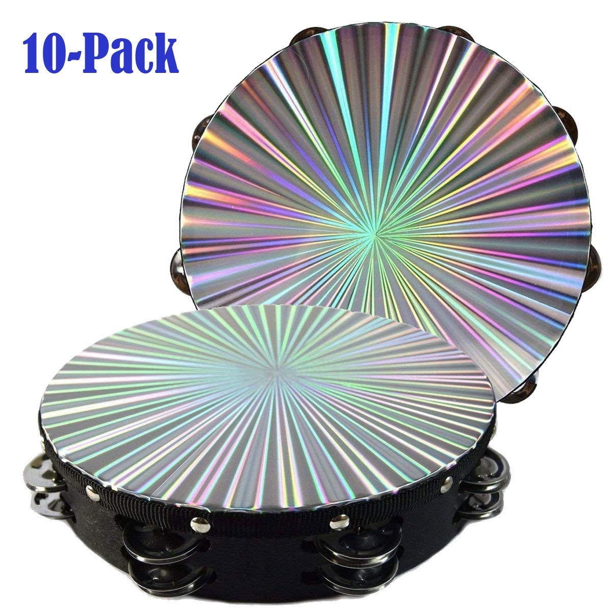10 Pack 8'' 3D Tambourine Music Double Row Jingle Percussion Instrument Church by Zebra Sound