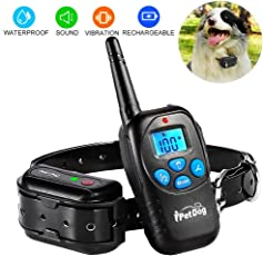 Fettish Dog Training Collar - Rechargeable and Waterproof Dog Shock Collar Electronic Remote Controlled Dog Train with LED Light/Beep/Vibration/Shock Adjustable Collar for Dog