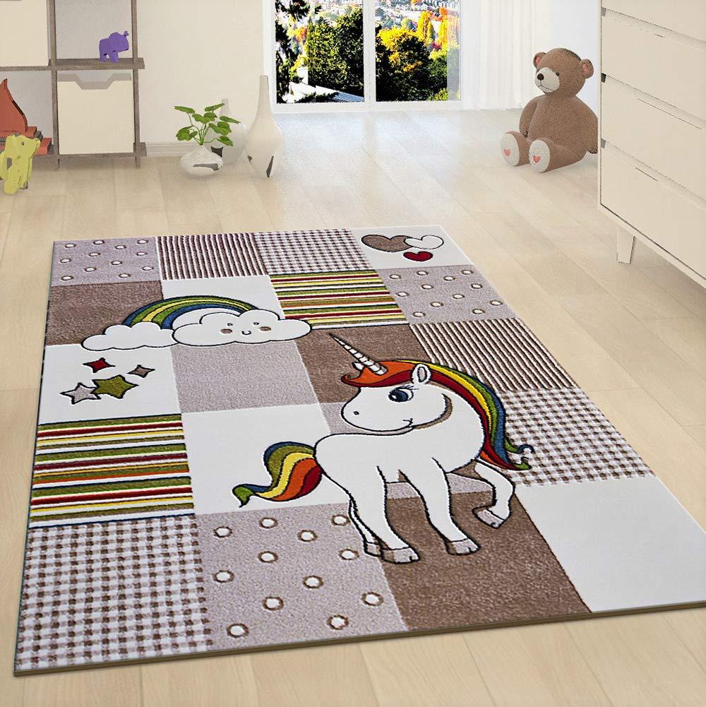 XRUG Einhorn-Teppich für Kinder, Beige Kinderzimmerteppich gewebt Spielzimmer Matte für Baby Mädchen Jungen Schlafzimmer, beige, 120x170 cm - 4'x5'6'' ft