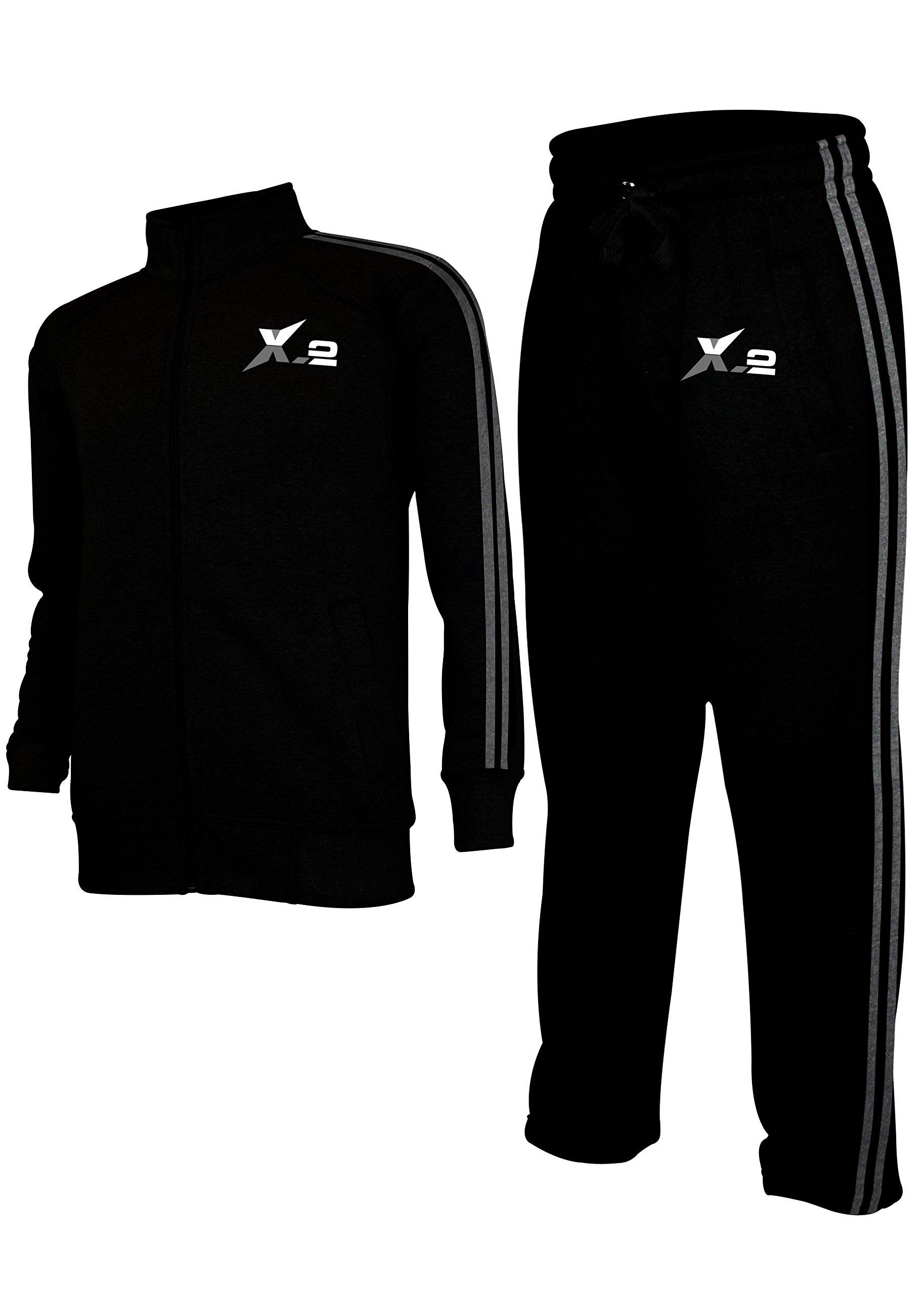 X-2 Mens Athletic Full Zip Fleece Tracksuit Jogging Sweatsuit Activewear Black XL