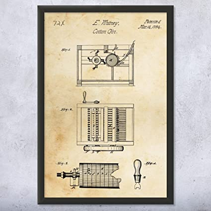 amazon com framed eli whitney cotton gin art print farm art