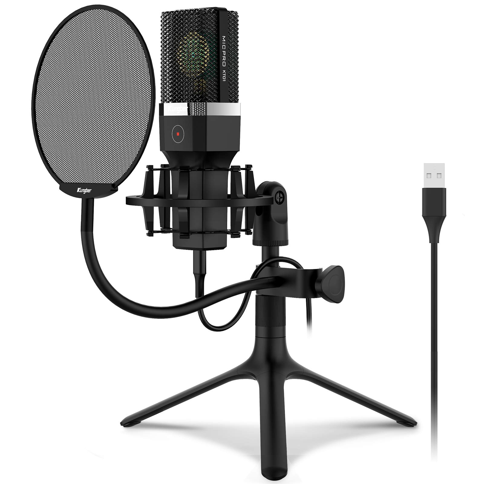 USB Microphone Kungber Condenser Computer PC Mic with Adjustable All Metal Tripod