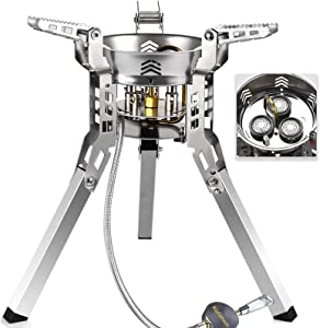 KOFOHON Portable Foldable Camp Gas Stove,Small Backpack Propane Stove Burner for Car RV Boat Trip,Full Stainless Steel Outdoor Mini Stove with Windproof to Hike Fish Hunt for Small Big Pot Pan.