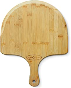 "Unicook Bamboo Pizza Peel, Premium Pizza Paddle Spatula, Tapered Cutting Board with Handle for Baking Serving Homemade Pizza, Bread in Oven and Grill, Essential Kitchen Tools, 17.5""L x 11""W"