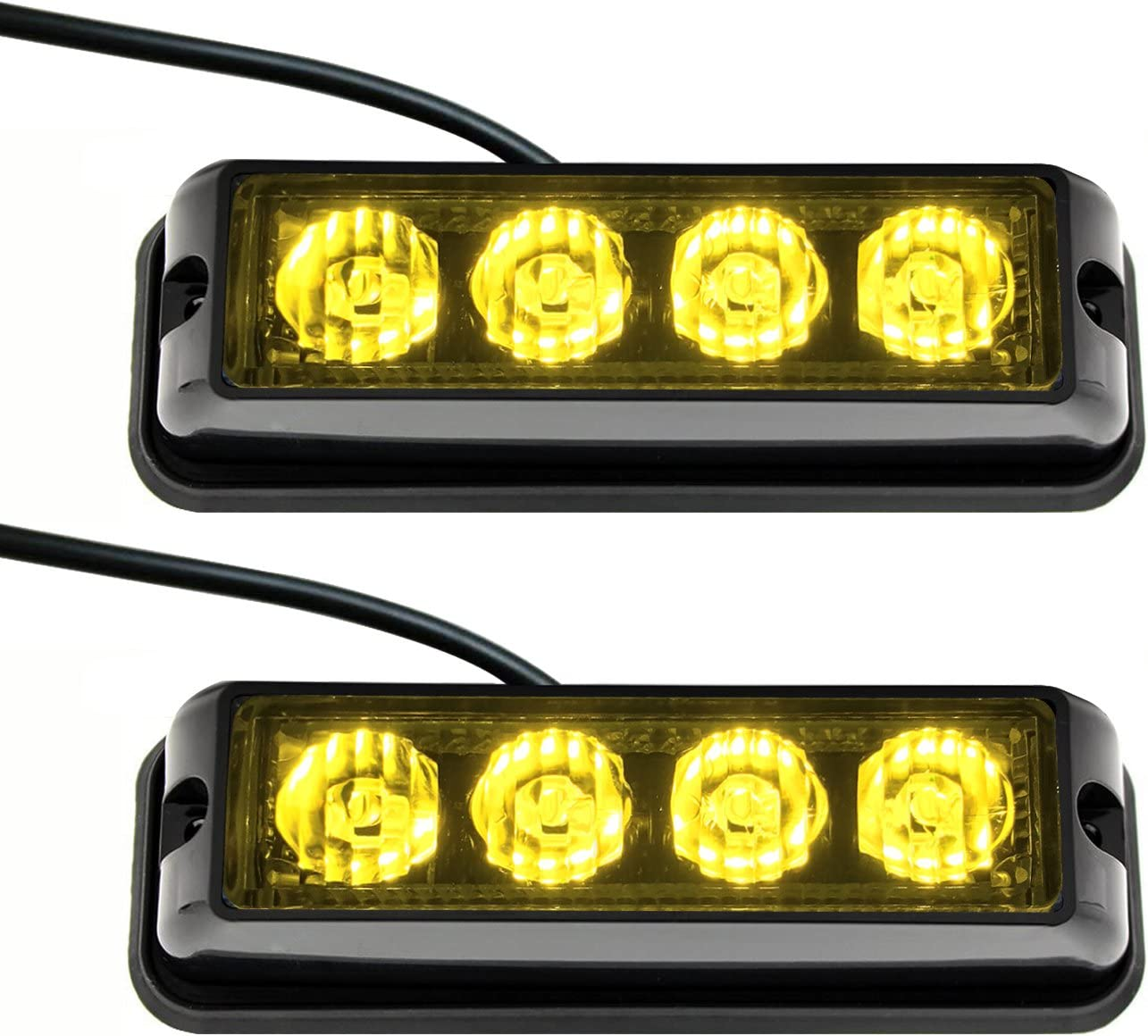 Strobelight Bar 4 LED with Super Bright Emergency Beacon Flash Caution Strobe Light Bar with 17 Different Flashing-2PCS (Yellow)