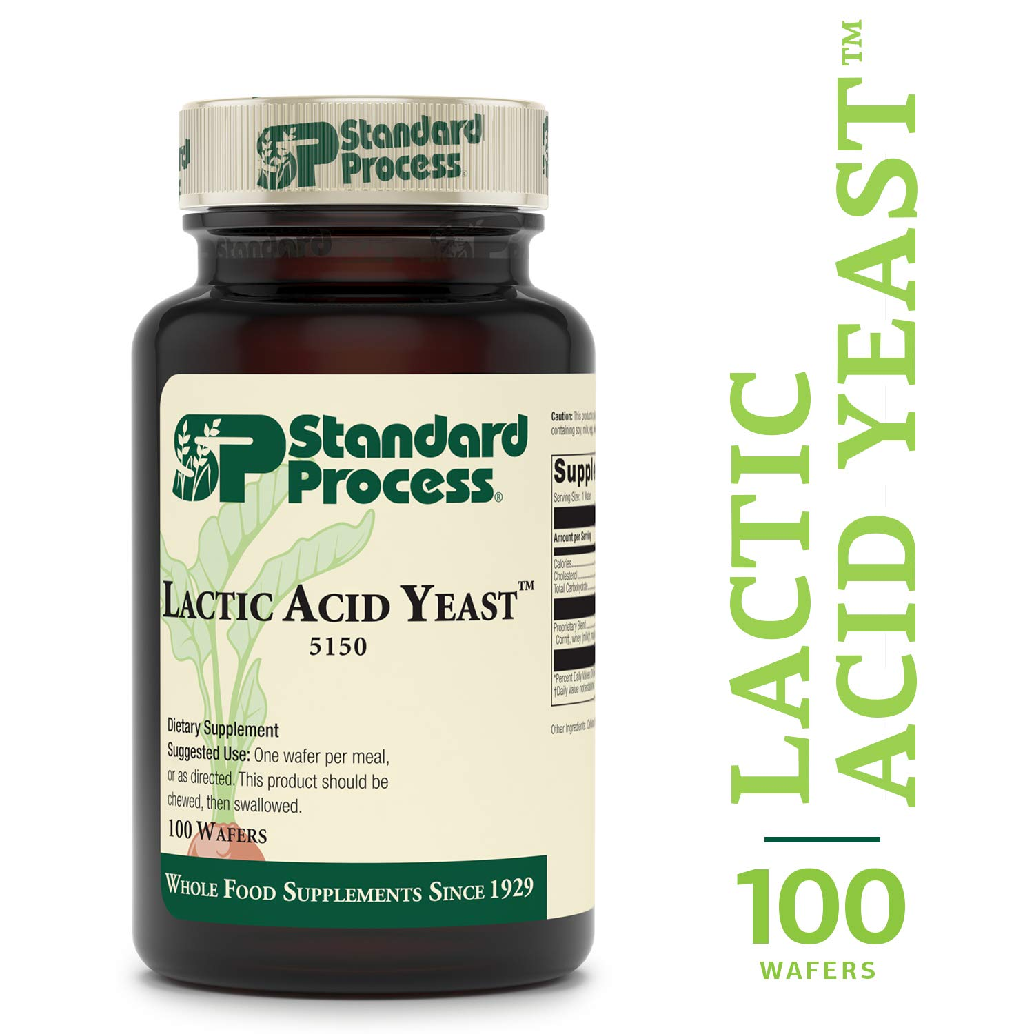Standard Process - Lactic Acid Yeast - Supports Healthy Function in The Lower Gastrointestinal (GI) Tract, General Intestinal Health, Vegetarian - 100 Wafers