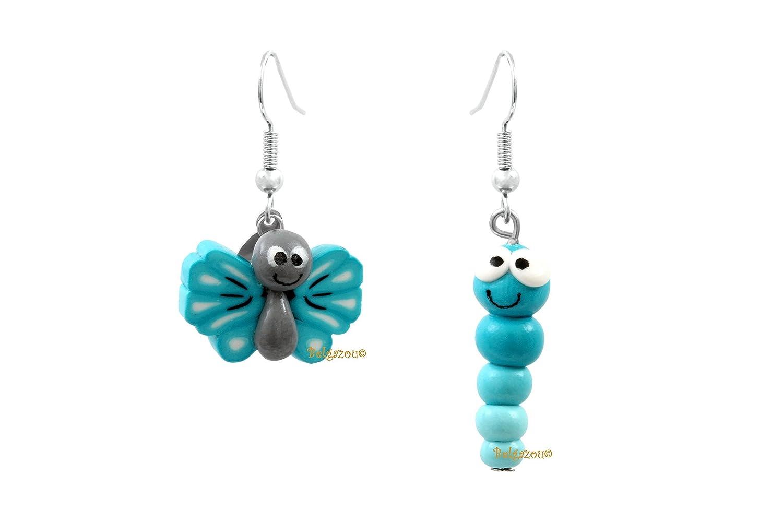 Lady-Charms - Handgefertigt in Frankreich - Butterfly und Raupe Ohrringe (blau)