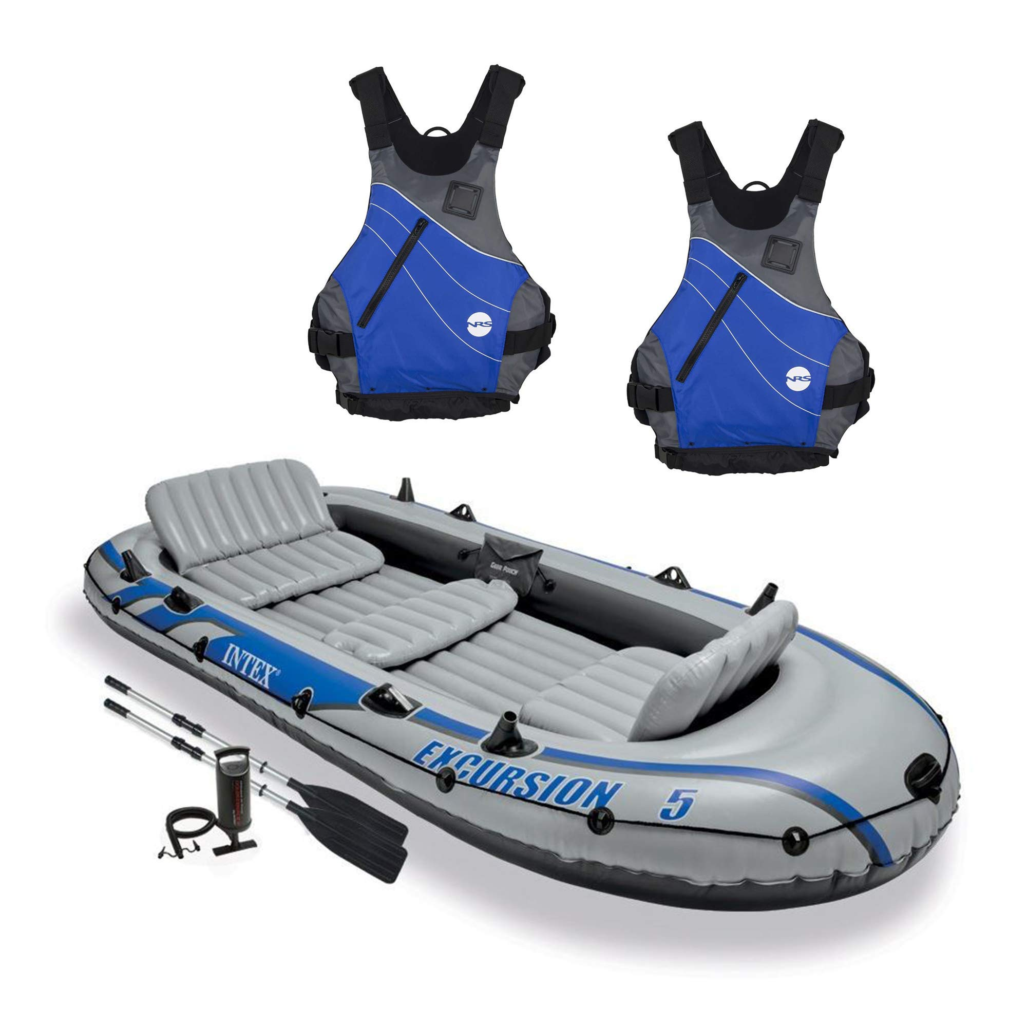 Intex Excursion 5 Person Inflatable Raft, 2 Oars & 2 Blue Life Jackets, Large XL