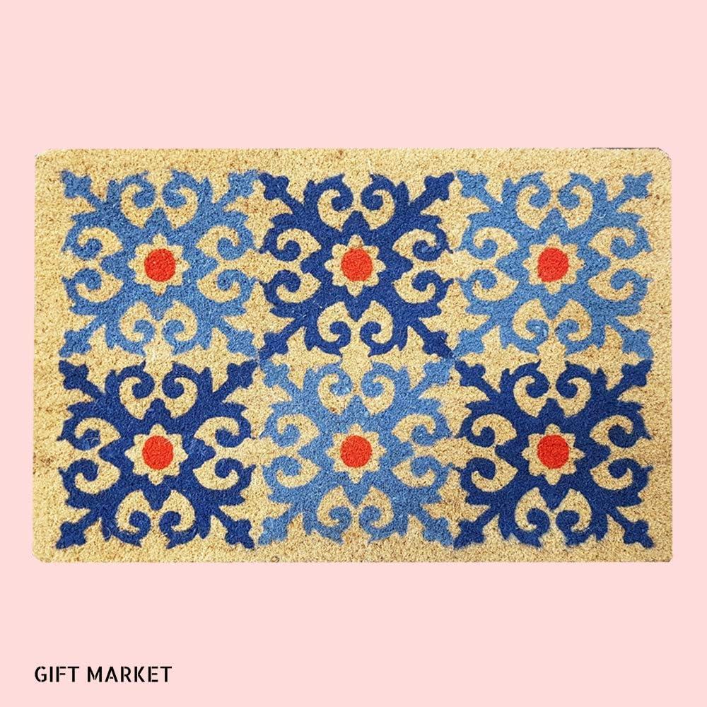 GIFTMarket   Felpudo Mosaico 60x40 cm Divertido y Original para la Puerta de Entrada de Casa, Hecho con Coco y PVC Antideslizante. Rectangular.