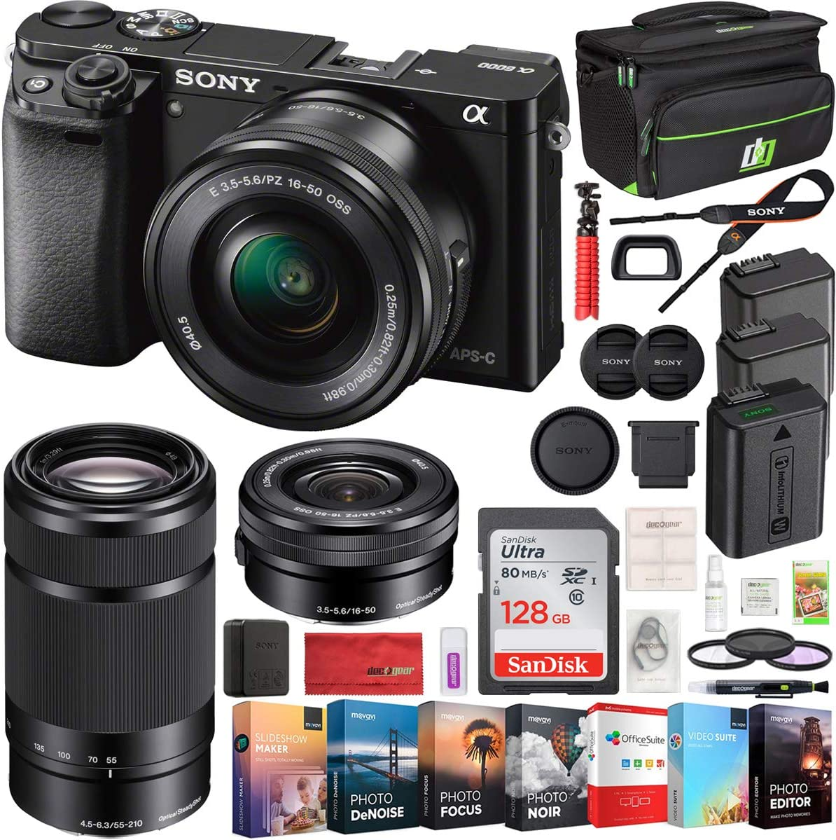 Sony Alpha a6000 Mirrorless Camera with 16-50mm and 55-210mm Power Zoom Lenses Bundle with 128GB Memory Card, 2X Battery, Bag, Professional Editing ...