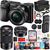 Sony Alpha a6000 Mirrorless Camera with 16-50mm and 55-210mm Power Zoom Lenses Bundle with 128GB Memory Card, 2X Battery, Bag