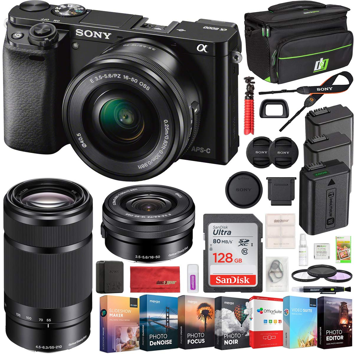 Sony Alpha a6000 Mirrorless Digital Camera 2 Lens 16-50mm & 55-210mm Lens (Black) ILCE-6000Y/B with 2X Extra Battery 128GB Memory Deco Gear Case Filter Kit Editing Suite Performance Bundle by Sony (Image #1)