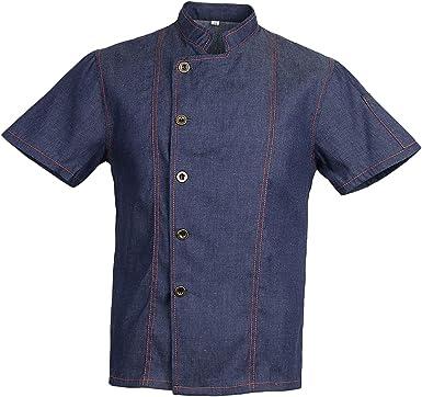 IPOTCH Camiseta de Cocinero Hombres Mujeres Denim Chef Jacket Buttons Baker Jacket Catering Clothing Chef Shirt Ropa de Trabajo para Cocineros