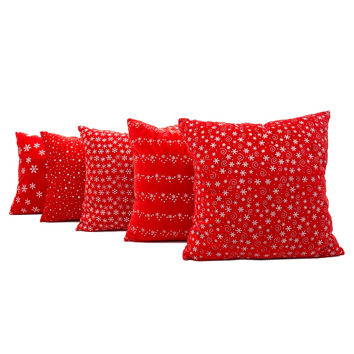 PSDWETS Christmas Decor Throw Pillow Set of 5 Cushion Cover 18 X 18, 18x18, Red Christmas Decorations Red Pillow