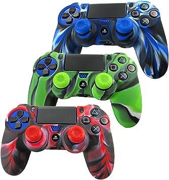 DOTBUY PS4 Controller Funda Siliconas Protector Protectora Mando de PlayStation 4 PS4 Slim PS4 Pro Game Cubierta de de 3 Colores con 3 Pares de Agarres Pulgar (Camo Azul,Verde,Rojo): Amazon.es: Electrónica