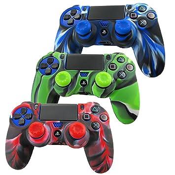 DOTBUY PS4 Controller Funda Siliconas Protector Protectora Mando de PlayStation 4 PS4 Slim PS4 Pro Game Cubierta de de 3 Colores con 3 Pares de ...