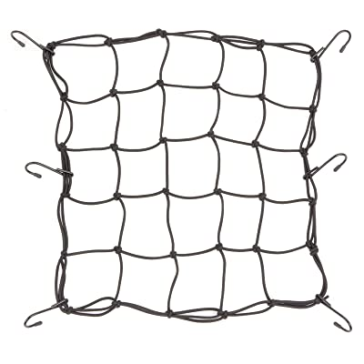"Powertye 15""x15"" Mfg Cargo Net Made with Premium Latex Bungee Material, 3""x3"" Mesh and Rubber-Tipped Super Strong Metal Hooks, Black: Automotive"