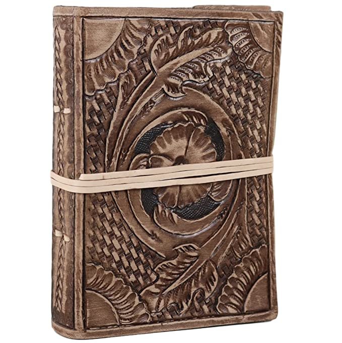 Tooled Leather Journal Notebook Sketchbook Floral Unlined 5 X 7 Inches by Ferus & Fivel