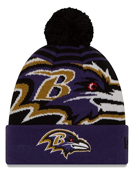 5efa704e2f0 Image Unavailable. Image not available for. Color  Baltimore Ravens New Era  NFL  quot Logo Whiz 2 quot  Cuffed Knit Hat with Pom