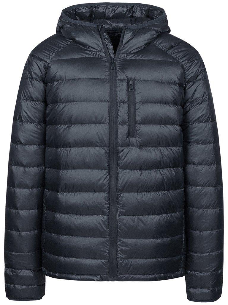 Wantdo Men's Packable Ultra Light Weight Hooded Puffer Down Jacket(Dark Grey,L)