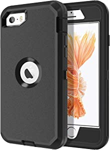 I-HONVA for iPhone SE Case, for iPhone 5S/5 Case Built-in Screen Protector Shockproof Dust/Drop Proof 3 in 1 Full Body Protection Rugged Heavy Duty Cover Case for Apple iPhone SE/5S/5, Black