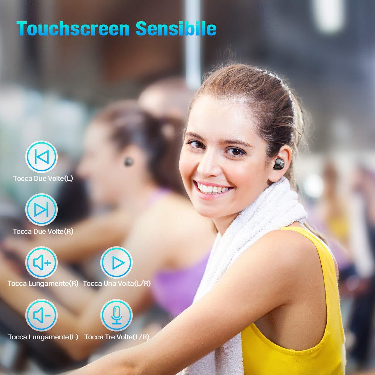 POWERADD Cuffie Bluetooth - Cuffie Bluetooth Senza Fili - Auricolare Bluetooth Wireless HD Stereo Con Display LCD - Compatto - Portatile e IPX7 Alta Impermeabile Perfetto per iOS Android