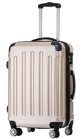 Beibye 2048 - Juego de maletas de viaje rígidas con ruedas, tamaños M-L-XL, en 17 colores, champán, extra-large: Amazon.es: Deportes y aire libre