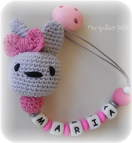 Chupetero Crochet PERSONALIZADO con letras de SILICONA. ENVÍO GRATIS ...